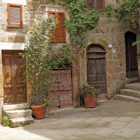 italian patio in old village Pitigliano, Tuscany, Europe