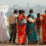 Indian admiring panoramic view of Mumbai city from...