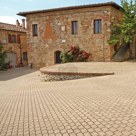 Main Square in small italian town Murlo
