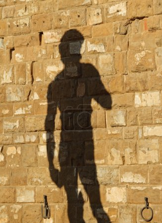 silhouette of famous italian statue of David projected on wall o