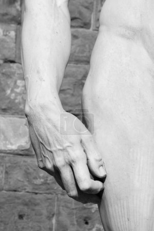 hand and hip of David sculptured by Michelangelo , Florence, Tu