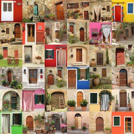 abstract house made of many doors, images from Italy, Europe