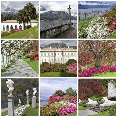 Photo pour Collage avec des images de la Villa Melzi d'Eril et des jardins célèbres avec des rhododendrons et azalées en fleurs sur le lac de Côme, Bellagio, Lombardie, Italie, Europe - image libre de droit