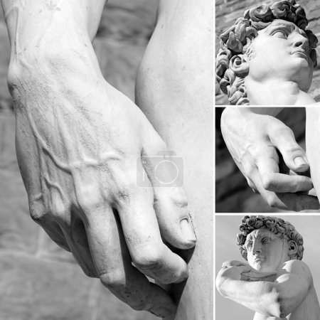 details of famous sculpture of David by Michelangelo, Florence,