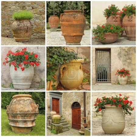 collage with antique style garden vases