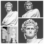 Marble statue of Dante Alighieri collage
