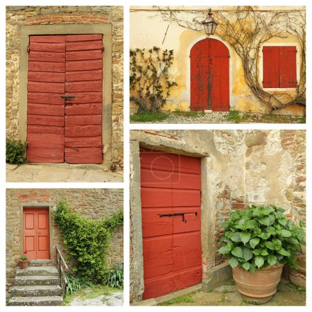 Red country doors collage , Italy...