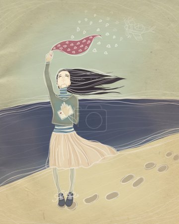 Photo for Vintage illustration. long-awaited meeting. young girl meets a loved one with war. raster illustration. - Royalty Free Image