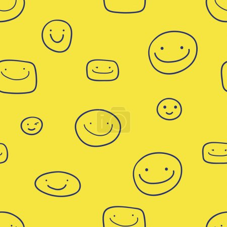 Illustration for Vector seamless pattern with cheerful smiles, on a yellow background - Royalty Free Image