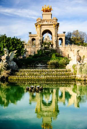 Fountain with reflection in the pond in Parc de la Ciutadella, Barcelona