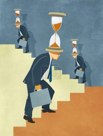 Business men climbing endless stairs under time pressure