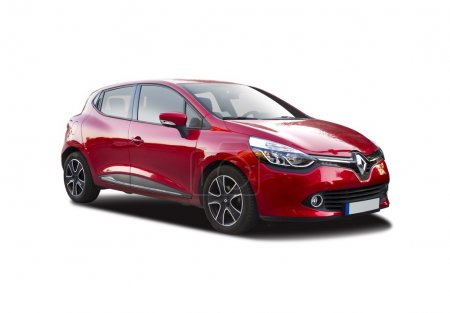 New red Renault Clio isolated on white...