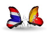 Dva motýli s příznaky Thajska a Bhútán