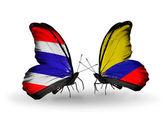 Dva motýli s příznaky Thajska a columbia