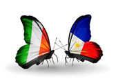 Butterflies with Ireland and  Philippines flags on wings
