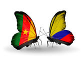 Butterflies with  Cameroon and Columbia flags