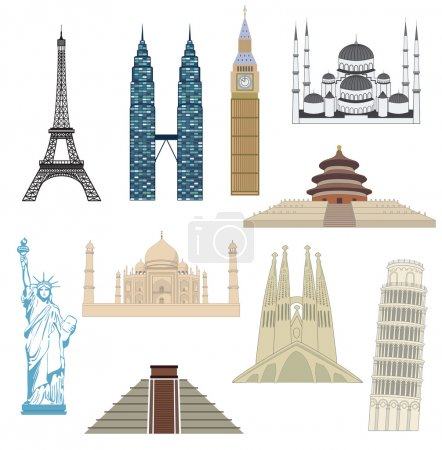 Illustration for Travel icons. Most popular tourist destinations. Vector. - Royalty Free Image