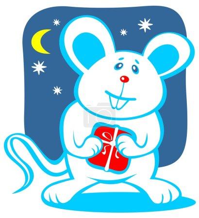 Photo pour Dessin animé souris joyeuse avec cadeau. Illustration de Noël . - image libre de droit