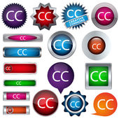 Set of colored buttons labeled Creative Commons