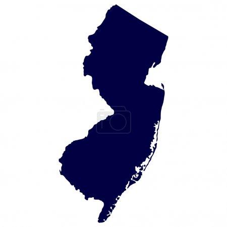 Illustration pour Carte de l'État américain du New Jersey - image libre de droit