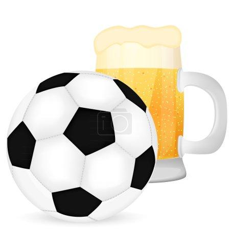 ballon de soccer et une chope de bière