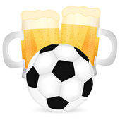 Mugs of beer and a soccer ball