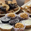 Collection of sweet pastries and rolled wafers....