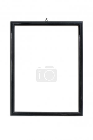 Photo pour Cadre photo noir accroché à l'ongle, isolé sur blanc - image libre de droit