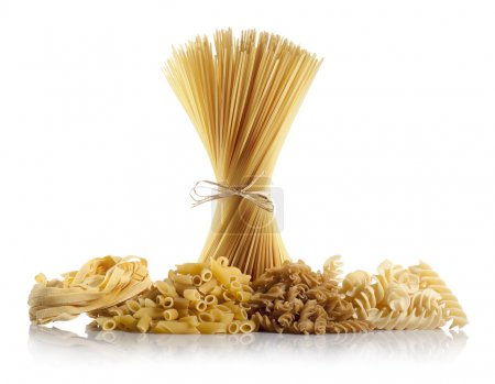 Photo for Variety of uncooked pasta on white background - Royalty Free Image