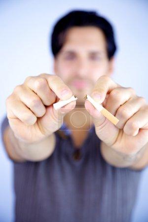 Man stop smoking stopping bad habit