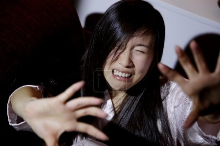 Chinese american woman scared of husband crying