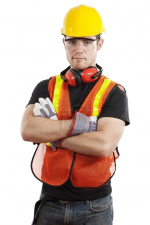 Photo for Stock image of male construction worker isolated on white background - Royalty Free Image