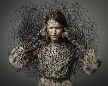 Photo for Headache. Obsession. The stream of dark thoughts. Expressions, feelings and moods. Young woman suffering from dark thoughts. - Royalty Free Image