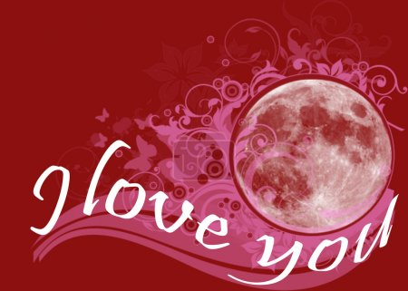 Love declaration with moon and flowers