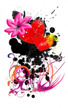 Dark love with hearts, flowers and ink blots