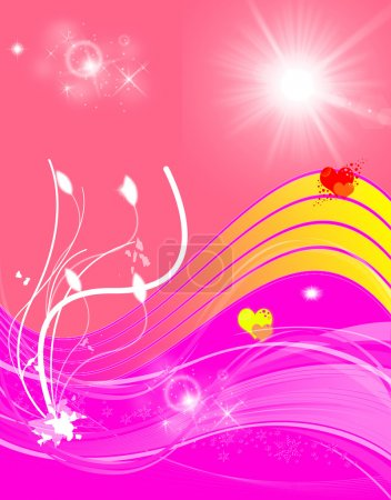 Abstract pink and red background with hearts, sun and plants