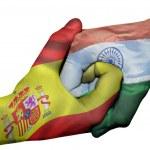 Diplomatic handshake between countries: flags of S...