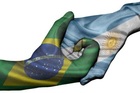 Diplomatic handshake between countries: flags of B...