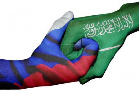 Photo for Diplomatic handshake between countries: flags of Russia and Saudi Arabia overprinted the two hands - Royalty Free Image