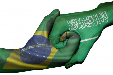 Photo for Diplomatic handshake between countries: flags of Brazil and Saudi Arabia overprinted the two hands - Royalty Free Image