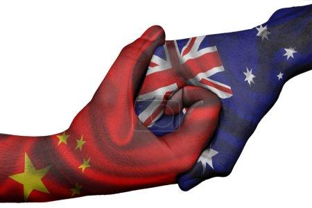 Photo pour Poignée de main diplomatique entre pays : drapeaux de la Chine et l'Australie surimprimé les deux mains - image libre de droit