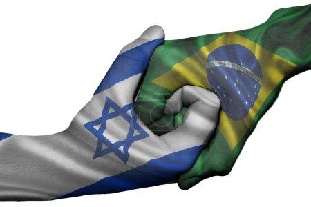 Diplomatic handshake between countries: flags of I...