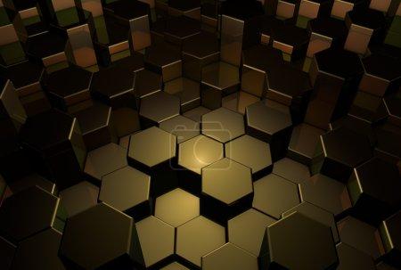 Photo pour Fond sombre abstrait 3D, hexagones d'or - image libre de droit