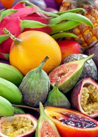 Foto de Fruta fondo .mix de muchas frutas tropicales . - Imagen libre de derechos