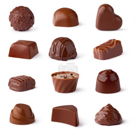 Photo for Chocolate sweets collection on a white background - Royalty Free Image