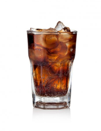 Photo for Cola glass with ice cubes on a white background - Royalty Free Image