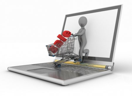 3d man and laptop online shopping