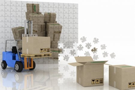 Boxes shown in the plane of the puzzle and forklift with a load