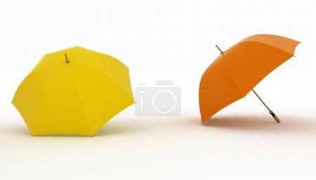 Multicoloured umbrellas on a white