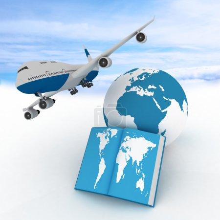 Photo pour Avion de ligne et livre sur fond de ciel. Conception des vols aériens partout dans le monde - image libre de droit